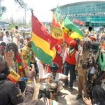 Rastafarians gathered @ The Norman Manley Airport in Kingston