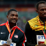 Justin Gatlin (left) and Usain Bolt