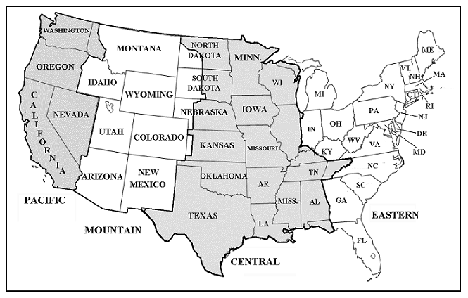 Usa Time Zone Map Names - Us time zone map black and white