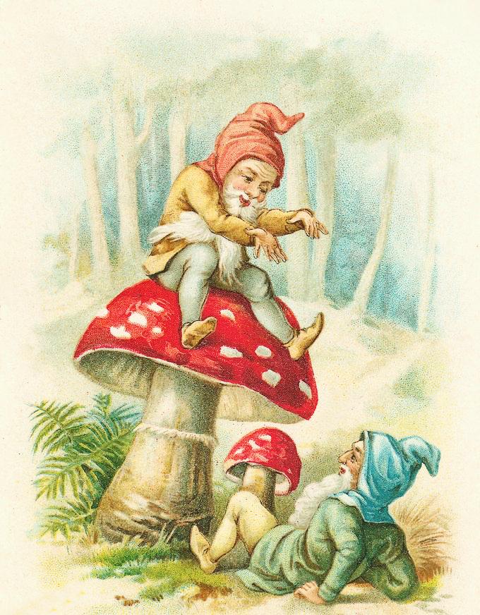Elves on Mushroom Clipart