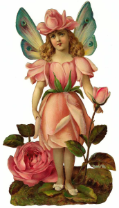VIctorian Die-cut Flower Girl Graphics Fairy
