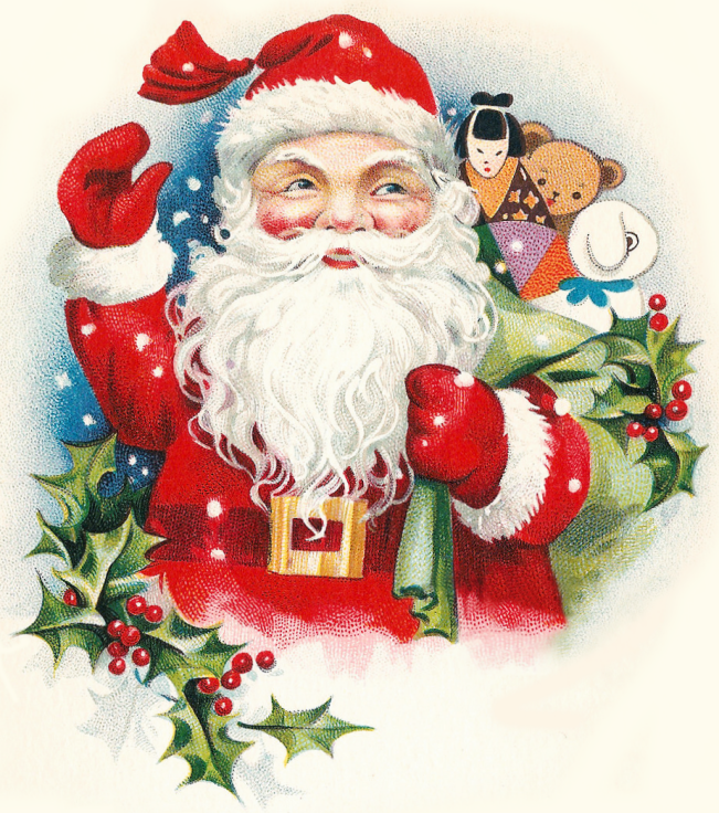 Cheerful Vintage Santa With Toys Clipart