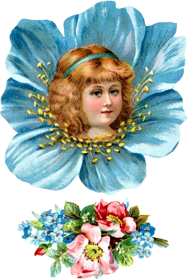 Free Victorian Flower Girl Head Clipart