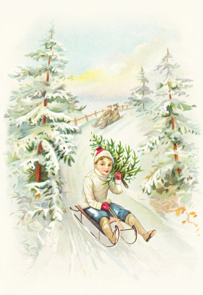 Free Christmas Sled Scene graphic