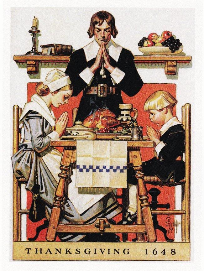 Norman Rockwell Thanksgiving Prayer Graphic