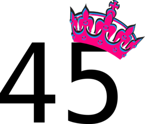 Pink Tilted Tiara And Number 45 Clip Art