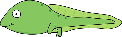 Green Animated Tadpole With A Smiling Face