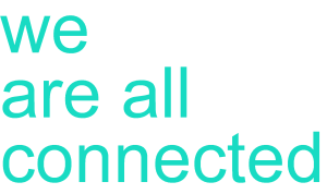 we are all connected logo in turquoise
