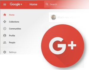 Google+ Logo over the home page
