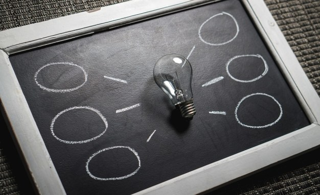 Brainstorming represented by a lightbulb on a whiteboard