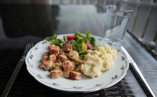 Hot dogs, mashed potatoes and salad