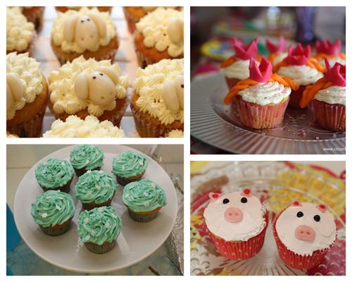 Sheep, Frozen, Pippi Princess and Pig cupcake variations.