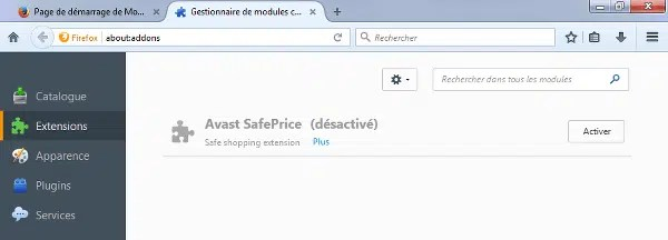 Enlever affichage coupons avast