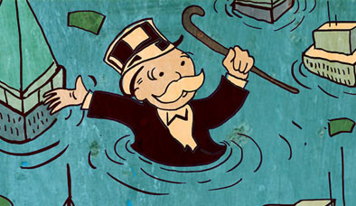 Cartoon of monopoly capitalist up in water