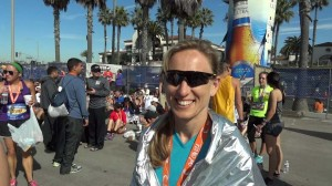Katie after finishing the Huntington Beach marathon