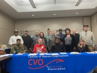 A meeting picture of the January 20th CVO meeting at Jesse Brown VA. Pictured: Seated: Ernest Kelley, Larry Nazimek CVO Vice-Chair, Willie Mack CVO Chair, Ginny Narsete of Operation HerStory. Standing (L to R): Commander Frank Thompson CVO Director and American Legion Div III Commander, Michael Wallace of VeTechUS, Abundio Zaragoza of the Mexican American Veterans Association, Carlos Luna of Green Card Veterans, Bruce Parry CVO Treasurer, Miguel Perez, Louis Shaw, Connie Edwards CVO Director, Steve Nelson of Veterans for Peace and Russ Hopkins CVO Director.