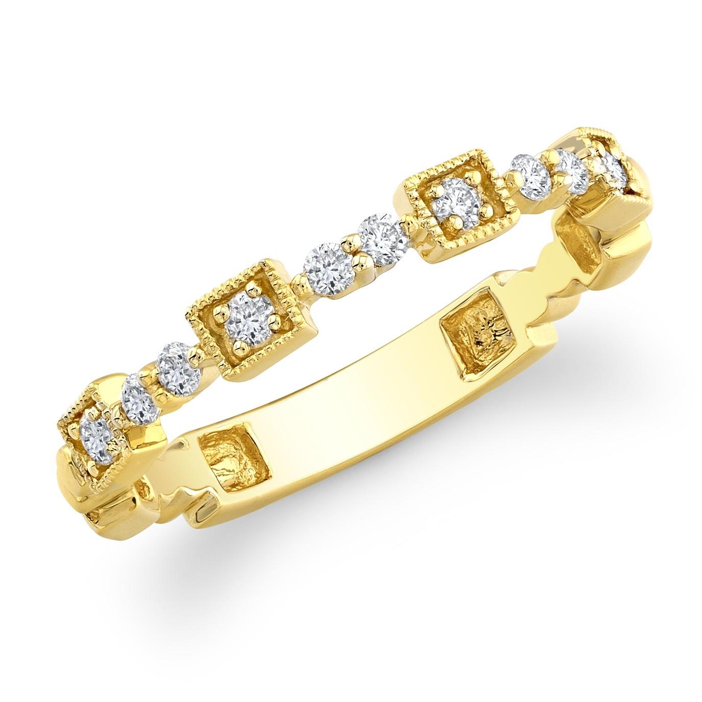 14kt yellow diamond wedding ring stacking stackable wedding bands 14kt Yellow Diamond Wedding Ring Stacking