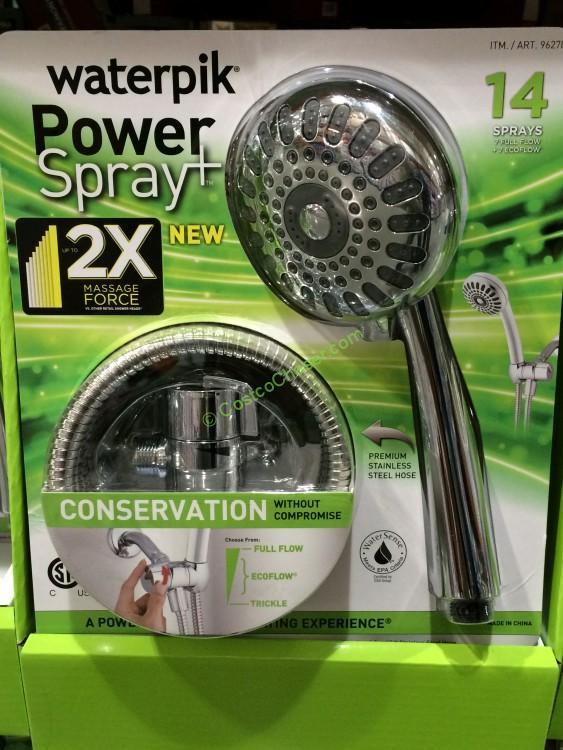 waterpik handheld shower head with 14 spray settings
