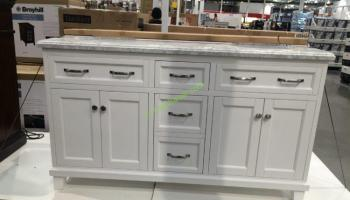 60 in double sink vanity. 60  Double Sink Wood Vanity White with Carrara Marble Mission Hills Gary Quartz Top CostcoChaser
