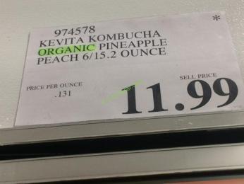 Costco-974578-Kevita Kombucha Organic Pineapple Peach-tag
