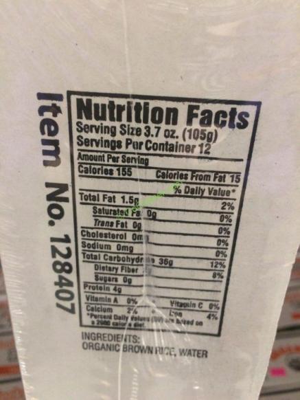 Costco-128407- Organic-Minsley-Brown-Rice-chart