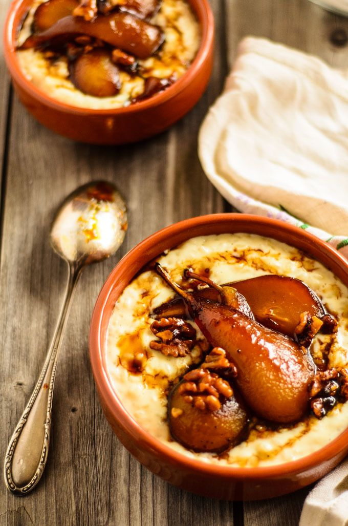 Creamy Ginger Rice Pudding With honeyed Roast Pears And Walnuts ...