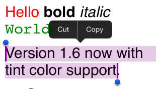 RichTextEditor tintColor support