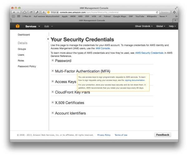 AWS Security Console