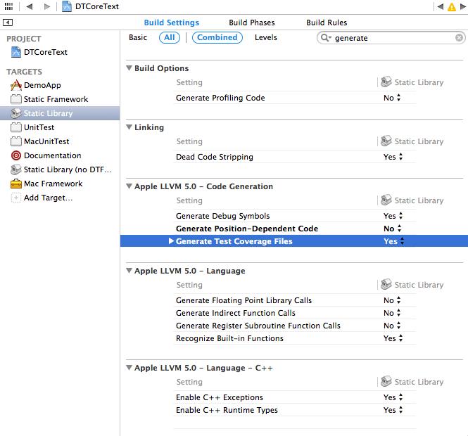 Generate Code Coverage Files