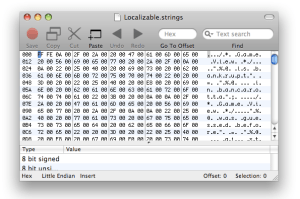 UTF-16 Text File in Hex Editor