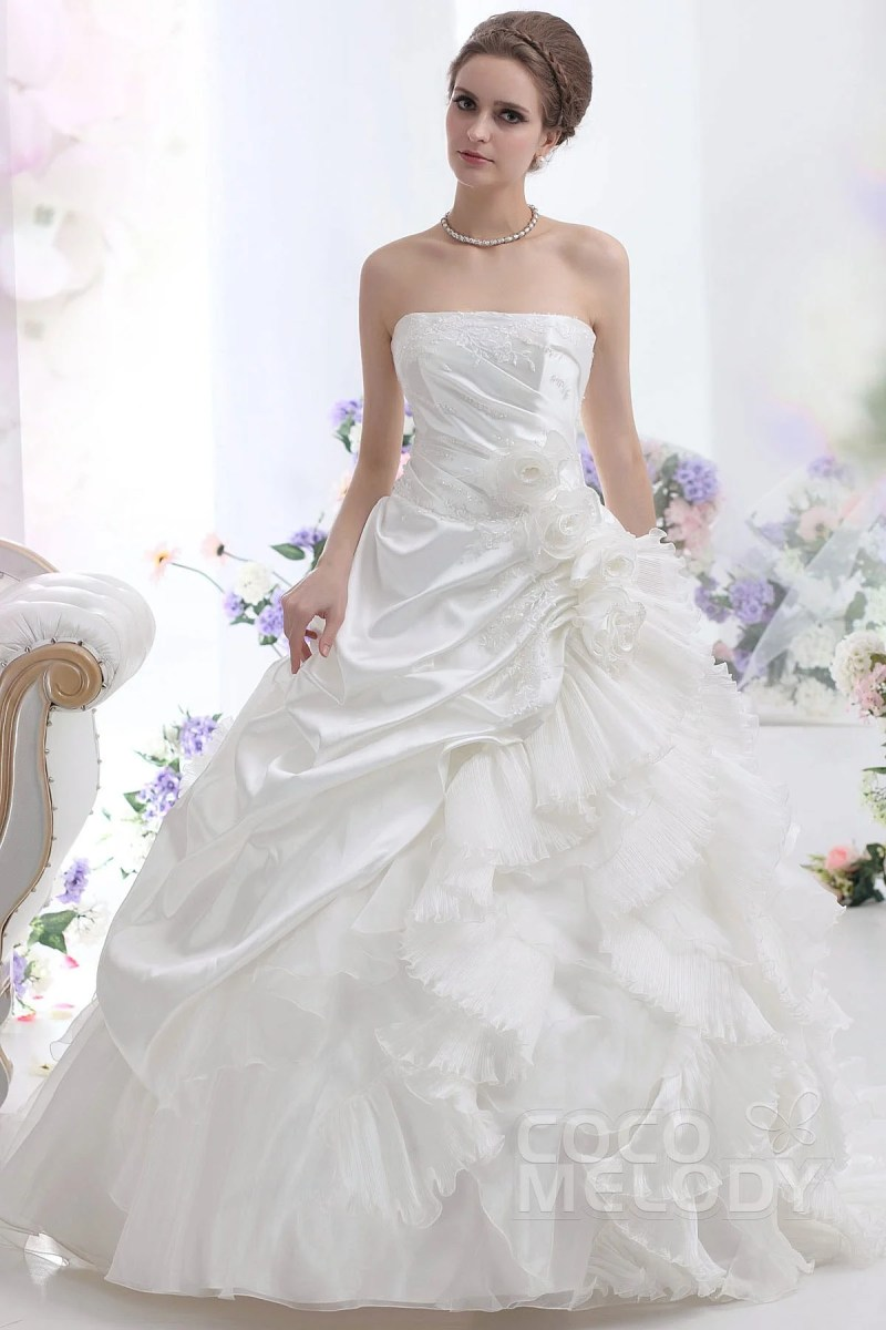 Beautiful Sexy Strapless Court Train Taffeta Wedding Dress Strapless Dropped Court Train Taffeta Wedding Aline Wedding Dresses 2016 Aline Wedding Dress Hoop