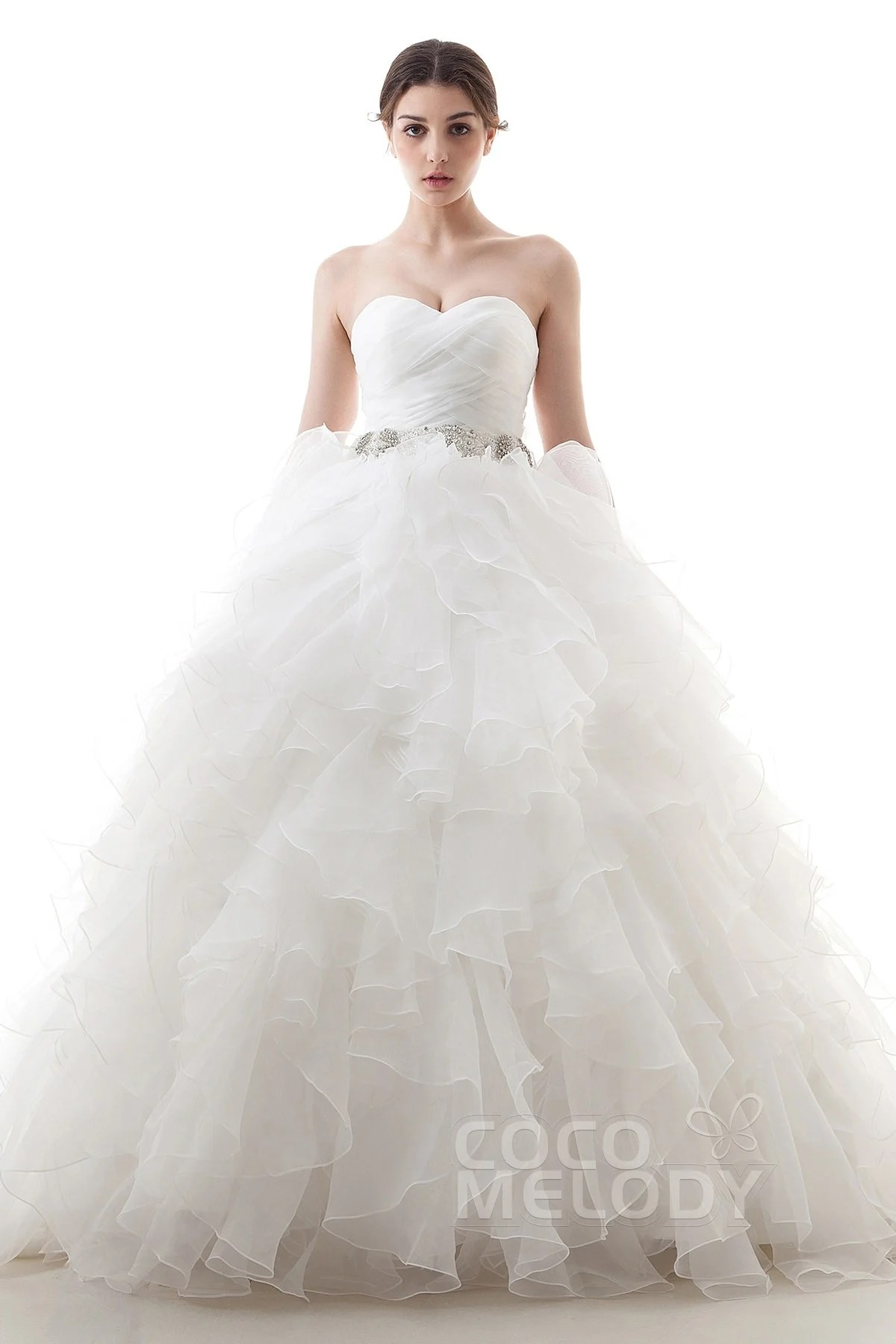 ball gown wedding dresses wedding ball gown dresses Dramatic Ball Gown Sweetheart Train Organza Ivory Lace Up Corset Wedding Dress with Beading and