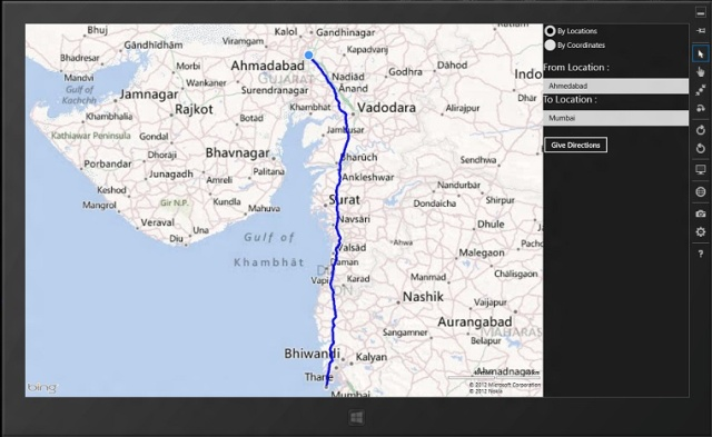 Driving route path direction with Bing Maps in C  XAML in a Windows     Introduction