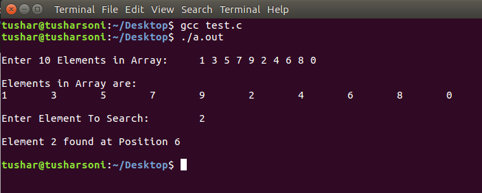 Search Array Element using Linear Search in C Programming