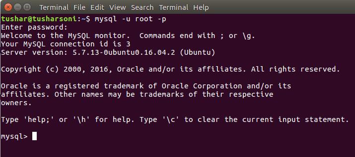 Run MySQL in Linux Ubuntu using command line