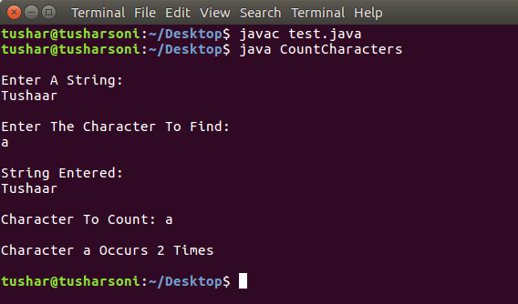Java Program To Count Occurrence of Character in String