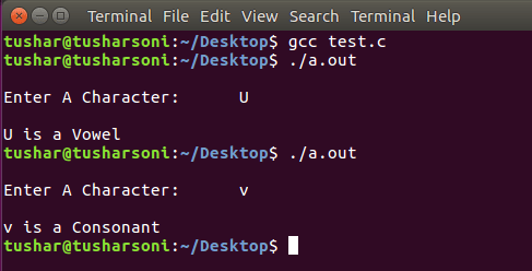 C Program To Check if Entered Character is Vowel or Consonant