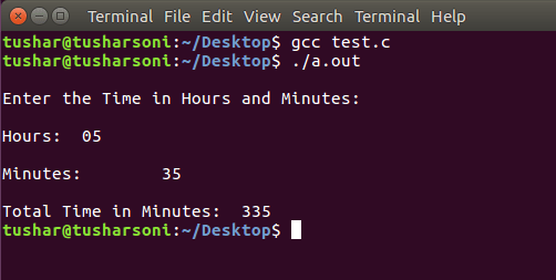C Program To Convert Time into Minutes using Functions