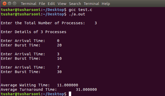 Preemptive Shortest Job First Scheduling Algorithm using Arrival Time and Array