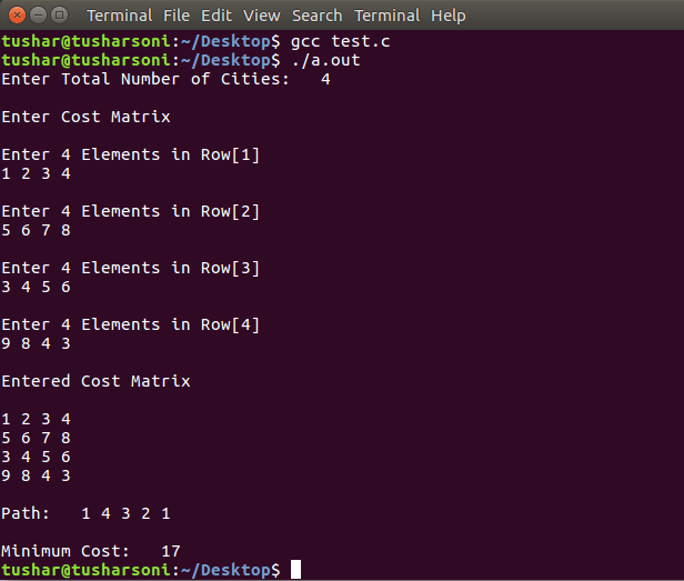 Travelling Salesman Problem in C Programming using Arrays