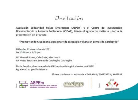 Invitacion ASPEm- Presentación de Proyecto Lomas de Carabayllo