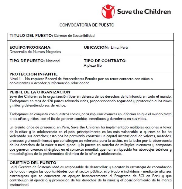 save the children_gerente sostenibilidad