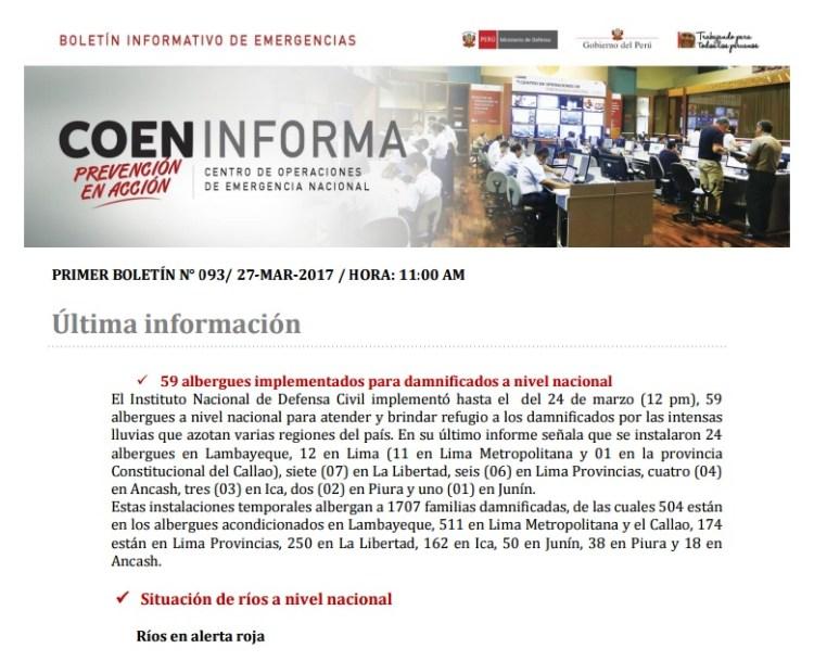 Boletin Informativo Emergencia 93
