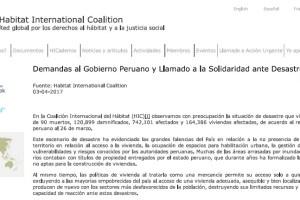 Demandas Gobierno Peruano llamado solidaridad desastres Peru
