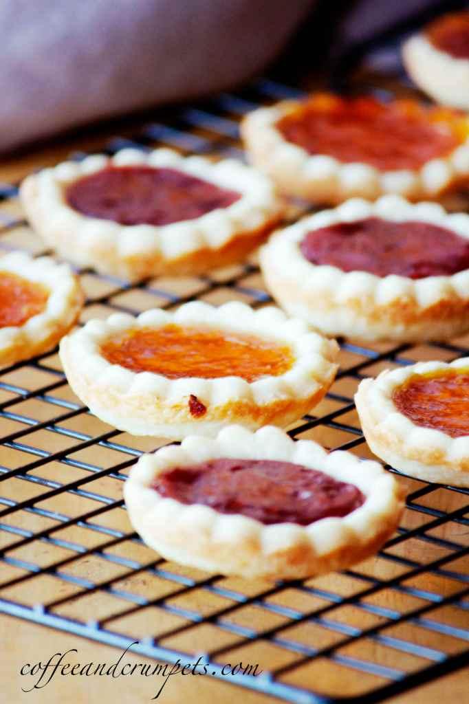 apricot, strawberry and raspberry jam tarts
