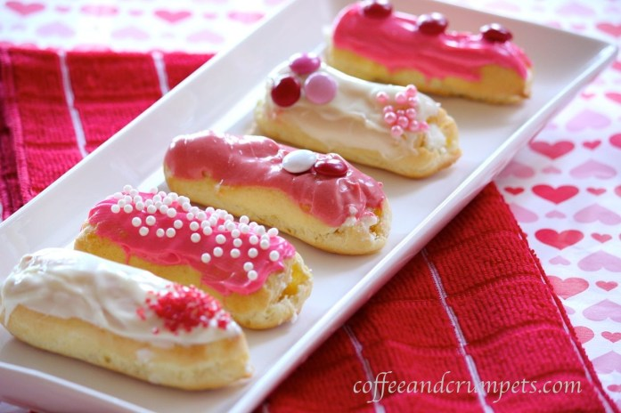 eclairs with white chocolate cream