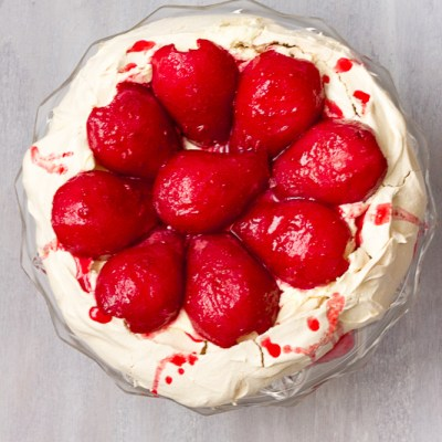 Raspberry Poached Pear Pavlova