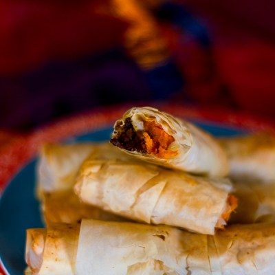 Sweet Potato and Ground Beef Phyllo Cigars