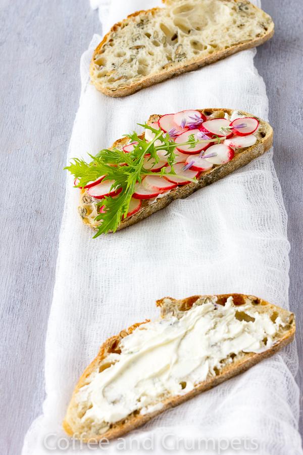 Pickled Radish and Lemon Mascarone Tartine -3