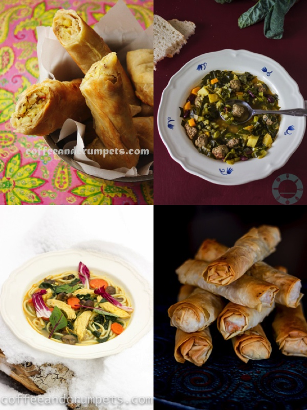 Borek, Kale Soup, Chicken Noodle Soup and Phyllo Rolls